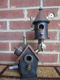 Steampunk BIRDHOUSE. That is too awesome.