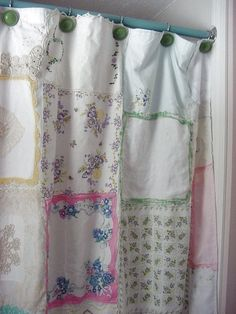 Hankie Shower Curtain. Love the shabby chic look