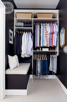 the doors, man closet, closet organization, closet space, organized closets, style at home, bedroom, small closets, storage benches