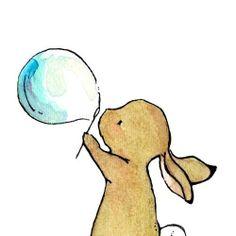 Nursery Art  Bunny Bubbles 8x10  Art Print by trafalgarssquare, $20.00