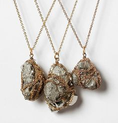 DIY Chain-Wrapped Rock Necklace