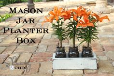 Mason Jar Planter Box for Mothers Day
