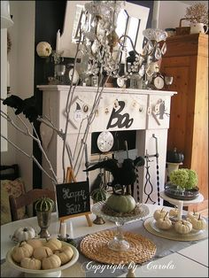 Boxwood Cottage: Part 2 of my Black & White Fall/Halloween decor  - TONS OF DECORATING INSPIRATION