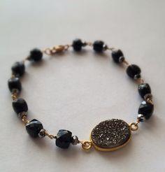 Black Gold Druzy Faceted Black Garnet 14k