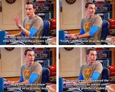 Sheldon explaining fandom life