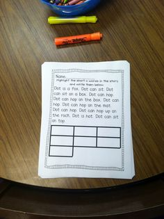word work idea from Life in First Grade: Use a past decodable story.  Kids highlight all words that follow a certain phonics rule.