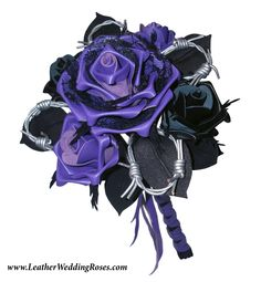 Leather wedding flowers on pinterest wedding bouquets for Can you get purple roses