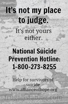 It's not my place to judge by Frugalista Blog lifting the shame of suicide for those left behind