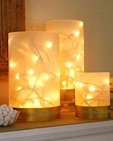 Twinkling Vases DIY Christmas decor