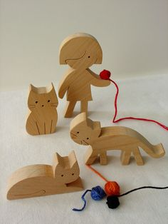 Wooden toy set - girl and cats - waldorf natural wood toy - eco friendly