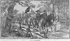 An illustration, On to Lawrence, of Quantrill and his men preparing to attack, by Jay Donald, circa 1883