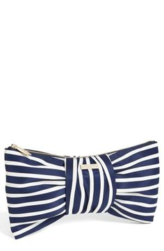 style, kate spade bow clutch, kate spade clutches, blue bow, bows, bow bag, road, clutch bags, stripe