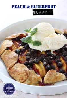Peach and Blueberry Slab Pie   Inspired by Charm #ayearofpie