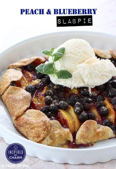 Peach and Blueberry Slab Pie #ayearofpie