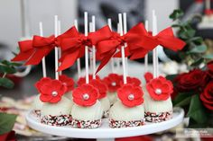 Vibrant Red Flower with Pearl Cake Pops