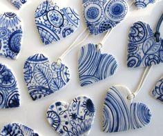 craft, white heart, harriet damav, beauti, heart pendant, blue heart, ceram heart, blue and white art, blues