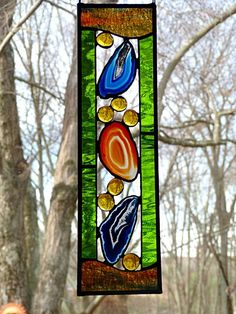 Stained Glass Geode Panel Cobalt Blue and Natural