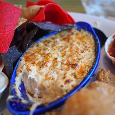 Joe's Crab Shack Crab Dip (Copycat).  ingredients:  3 ounces cream cheese, softened, 1 tablespoon mayonnaise, not miracle whip, 1/4 c sour cream, 1 tbsp butter, softened, 1/4 tsp seasoned salt, 1/8 teaspoon paprika, 2 tbsp onions, diced fine, 2 tbsp green bell pepper, diced, fine, 1/4 cup Mozzarella cheese, shredded, 6 ounces crab meat, flaked and picked over for shells.  via http://www.cdkitchen.com/recipes/recs/519/Joes_Crab_Shack_Crab_Dip31251.shtml
