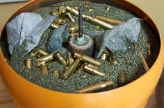Cleaning a load of rifle brass using a dry tumbler. Note how the used dryer sheets help pull the dirt out.