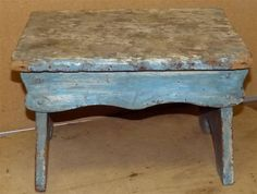 NICE  MID-LATE 19TH C WOODEN  FOOT STOOL WITH  SCALLOPED APRONS $42*