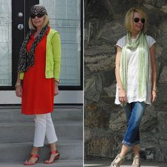 Ever thought of wearing a dress over pants? It can be a great look for women over 40 and these women show you how to do it!