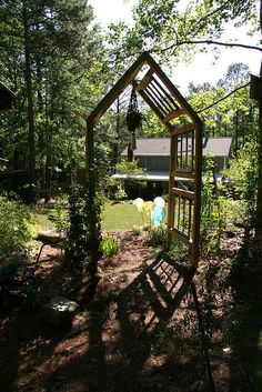 old windows recycled, repurposed, garden arch