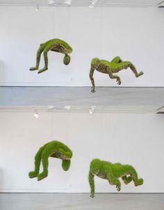 Suspended grass figures grow in galleries.