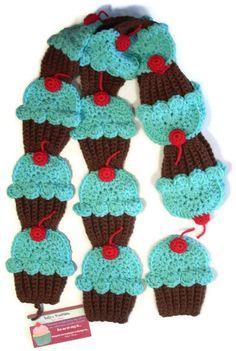 cupcak scarf, turquois cupcak, crochet cupcak, scarv