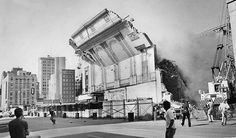 A 50-foot-high wall of the World Theater came crashing down on July 14, 1980, in downtown Omaha. Anderson Excavating was demolishing the theater. They had blocked off 15th Street because the wall was unstable and in danger of collapse. THE WORLD-HERALD