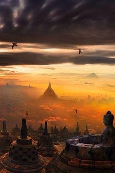 Borobudur, Indonesia.  Amazing.  It is magnificent.