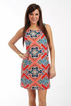Tribal Pocket Shift Dress, Red