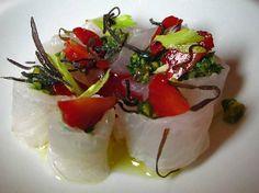 Fluke with Arugula, Pistachio, & Strawberry Pesto at Ma Peche (New York, NY). #UniqueEats