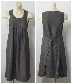 wrap dresses, robe tablier, apron dress, fashion dresses, linen apron, dress design, japanese patterns, apron patterns, work dresses