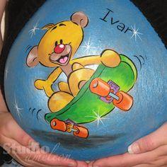 Teddy bear on skateboard belly painting