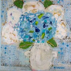 Polka Dot With Blue Hydrangea 36x36  Shain Gallery 704.334.7744