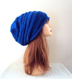 Women Super Slouchy Beanie Knit Baggy Hat Dreadlock Rasta Hat Navy Blue Slouchy Hat Fall Winter Hat Beret Gift Ideas Fashion Accessories by GrahamsBazaar on Etsy, $34.99
