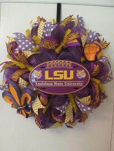 LSU Purple & Gold Deco Mesh Wreath  Handmade by Doris2618 on Etsy, $55.00