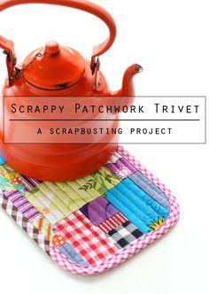 Patchwork trivet - scrapbusting project mypoppet.com.au