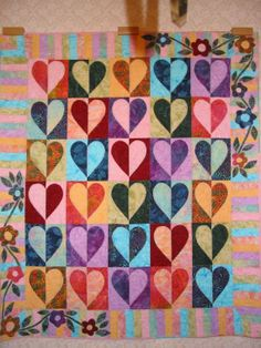 patchwork, sew, craft, cakes, heart quilts, quilted hearts, 3quilt hearts3, appliqu border, bright colors