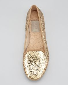 Gold glitter loafers.