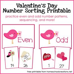 Freebie: Valentine's Day Number Sorting Printable - practice even and odd numbers as well as sequencing. From homeschoolcreations.net