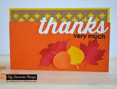 Burlap Background, Thankful Thoughts, Falling Leaves Die-namics, Many Thanks Die-namics, Proof Positive Cover-Up Die-namics - Teri Anderson #mftstamps