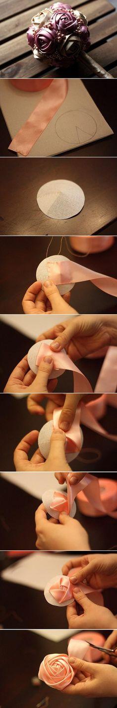 DIY Flores de cinta de raso