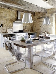 Modern-Rustic Silver Kitchen