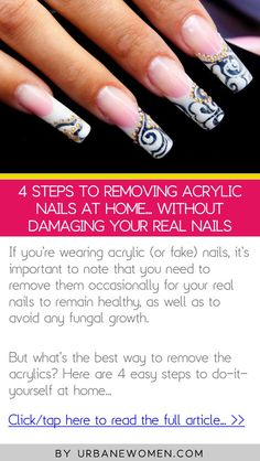 4 steps to removing acrylic nails at home... without damaging your real nails - Click to read the full article: http://www.urbanewomen.com/4-steps-to-removing-acrylic-nails-at-home-without-damaging-your-real-nails.html