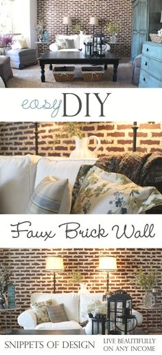 DIY Faux brick wall with hardboard panels from lowes. Love how she added the grout in the seams! Looks very convincing!