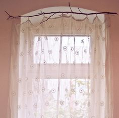 branch curtain rod...this would be pretty with birch!