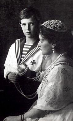 Empress Alexandra Feodorovna of Russia with her son Alexei
