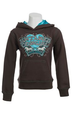 Cowgirl Hardware® Girls Brown with Turquoise Untamed Cowgirl Logo Pullover Hoodie
