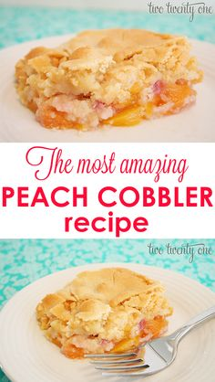 This is seriously the BEST peach cobbler recipe I've tried! cut sugar in half.